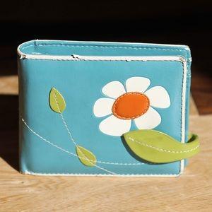 Espe teal whimsical funky flower wallet
